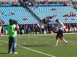 49ers quarterback Colin Kaepernick warms up for his game against the Carolina Panthers.