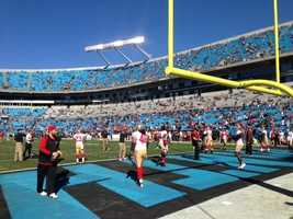 In a stadium full of teal and black, the 49ers red and gold stand out during Sunday's NFC playoff game.