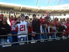 49er fans celebrate at Bank of America Stadium after the team beat the Carolina Panthers.