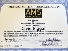 5.) I graduated from UC Davis with a degree in atmospheric science, and I have the AMS CBM seal. I graduated in 2011 and received my seal in 2013. I am the 602nd CBM in the U.S., which is probably one of my proudest accomplishments to date.
