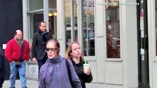 Seinfeld actors outside diner