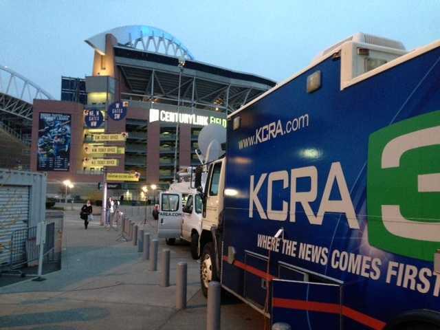 One of KCRA's satellite trucks parked outside CenturyLink field.