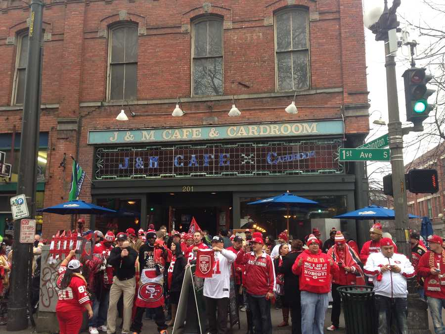 49er fans ban together in Seattle they await the NFC Championship game against the Seahawks.