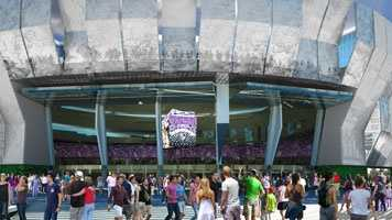 New artist renderings of a downtown sports and entertainment complex in Sacramento were released by the Sacramento Kings on Tuesday.