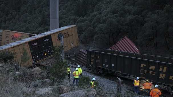 A Union Pacific train derailed Monday afternoon in Redding.