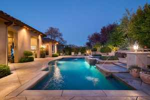 Backyard, complete with a pool and spa