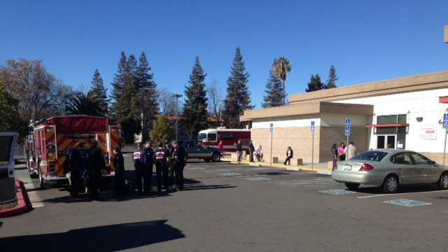 Stockton Fire crews respond to a chemical scare at the Department of Motor Vehicles.
