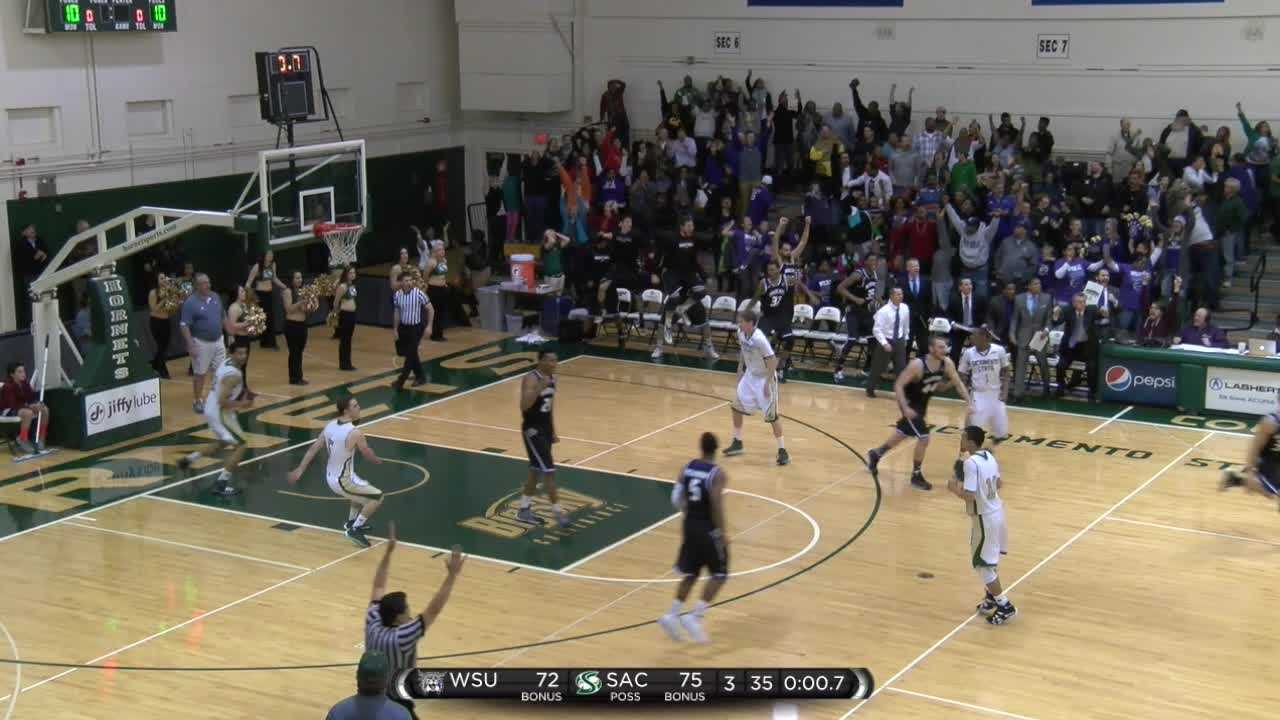 See raw footage of Sacramento State basketball player Dylan Garrity's 75-foot buzzer-beater against Weber State. Video courtesy of Sacramento State.
