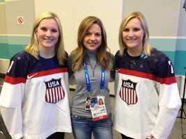 KCRA's Deirdre Fitzpatrick poses with twins Monique and Jocelyne Lamoureaux.