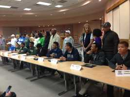 Eleven football stars from Elk Grove attended a ceremony to sign letters of intent on Wednesday -- and showed their excitement about their university of choice.