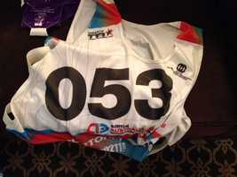 Jamie Anderson made the 2014 U.S. Winter Olympic team, and this is one of the bibs she wore during qualifying events.