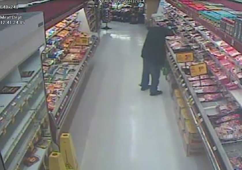 The Oakland Police Department released surveillance of the suspect in the carjacking and kidnapping that prompted anAmber Alert on Tuesday in Lincoln Square Shopping Center. The man is seen walking down a meat aisle.