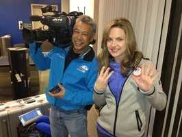 """KCRA's Deirdre Fitzpatrick and photographer Mike """"Domi"""" Domalaog loaded up on a plane to cover the 2014 Sochi Winter Olympics."""