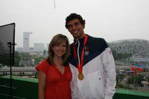 Olympic gold medalist Ricky Berens talked with Deirdre Fitzpatrick at the 2008 Beijing Summer Olympics.