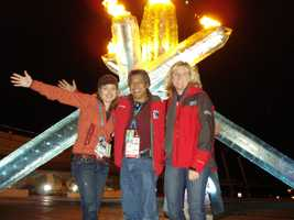 Deirdre and Domi with a Hearst producer at the 2010 Vancouver Olympics.
