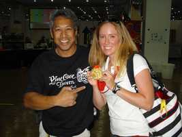 USA women's rowing coxswain Mary Whipple showed off her gold medal with Domi at the 2008 Biejing Olympics.