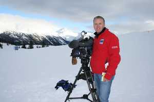 KCRA photographer Mike Rhinehart surrounded by white at the 2010 Winter Olympics in Vancouver.