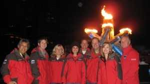 KCRA's Deirdre Fitzpatrick and photographer Domi join other members of the Hearst Olympic team in Vancouver in 2010.