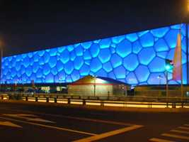 The Beijing National Aquatic Center, also known as the Water Cube, was home to the swimming events during the 2008 Olympics.