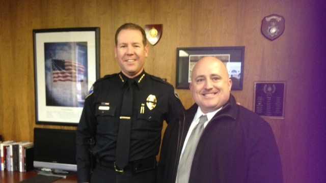 Police Chief Eric Jones with Officer Joe Silva (Feb. 18, 2014)