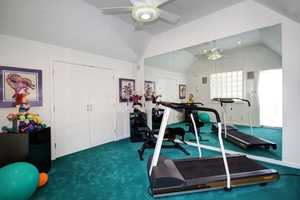 After all that work, residents can blow off some steam inside this workout room.