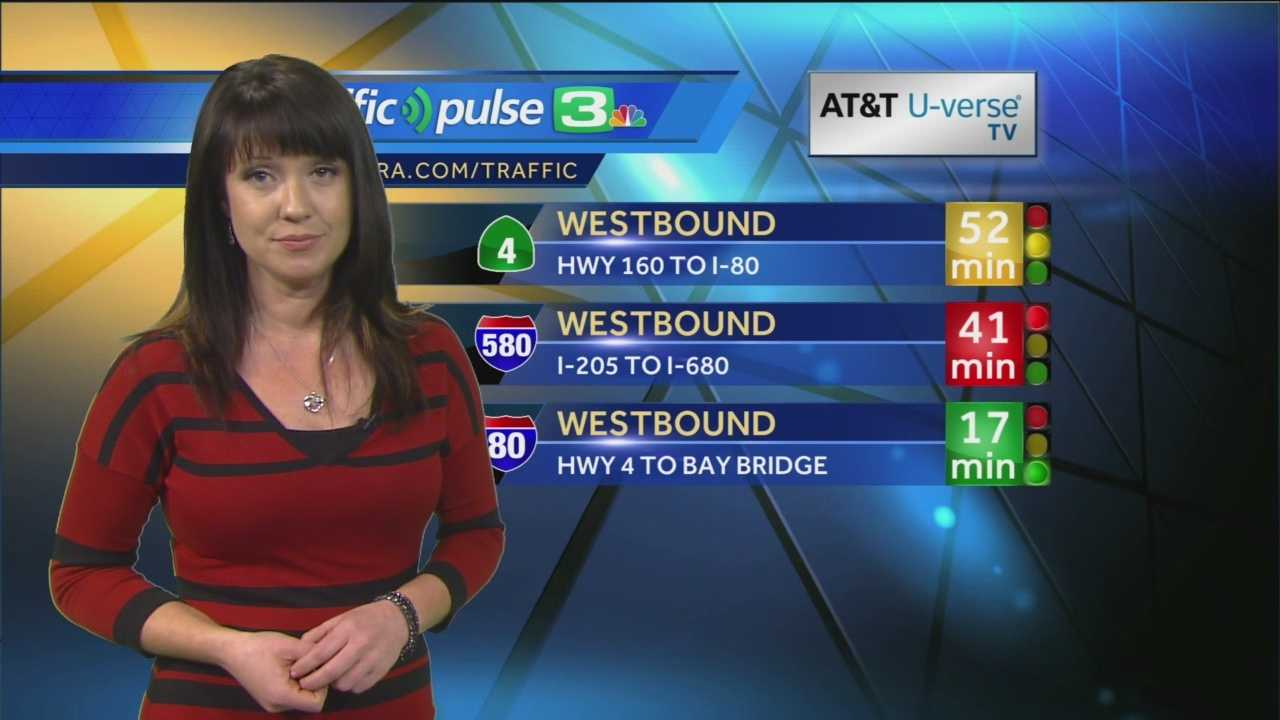 KCRA 3 traffic reporter Jaclyn Dunn takes a lot at the traffic conditions on a stormy Friday morning.