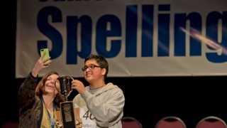 Taking a cue from the Oscars, Sacramento Bee Publisher and President Cheryl Dell poses for a selfie with 2014 California Central Valley Spelling Bee Champion Aditya Mishra at the end of Wednesday's competition (March 5, 2014).