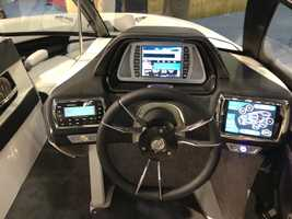 Luxury boats feature touch screen consoles that can be paired with mobile phone apps.