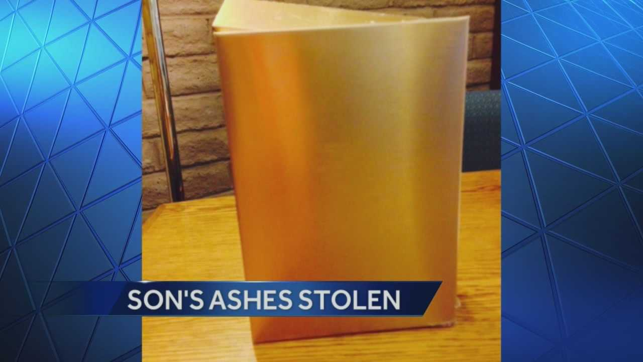 A Lodi couple is asking for help finding the ashes of their son, after thieves broke into their house and stole the ashes along with several of their possessions.