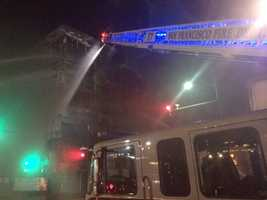 One firefighter suffered second-degree burns to the face, Fire Department spokeswoman Mindy Talmadge said.