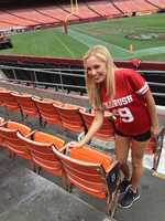 """Science cheerleader"" Kelsey samples the San Francisco 49ers' Candlestick Park."