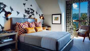 """Indi,"" Trove's famous birds-in-flight print is found in one of the bedrooms."