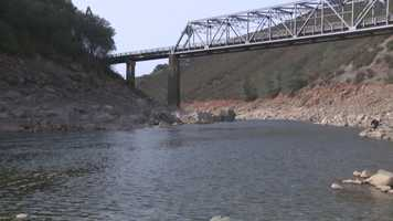 The American River continued to shrink under the Salmon Falls Bridge due to a lack of rain and snow.