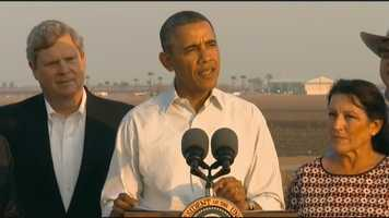 President Obama visited the Central Valley to discuss federal aid for California's drought.