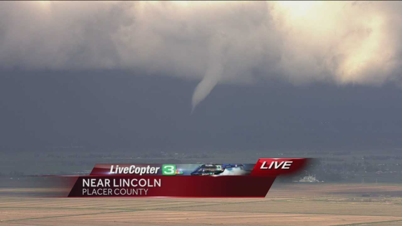 A large funnel cloud swept through Placer County Wednesday afternoon.