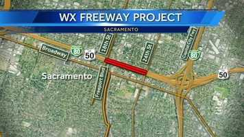 Construction will begin on April 22 on Highway 50 in Sacramento between 18th and 24th streets, known as the W/X Viaduct, and is expected to continue through the end of June.