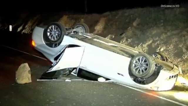 Car flipped LA earthquake