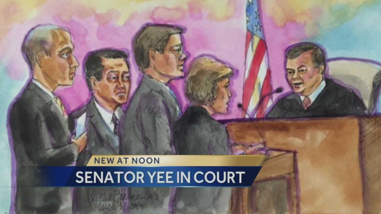 Sen. Leland Yee, who is charged with wire fraud and trafficking firearms, appeared in a San Francisco federal courtroom Monday.