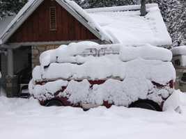 Snowfall at a Strawberry lodge
