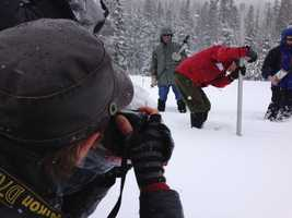 State surveyors traveled up the Sierra to take their monthly measurements of the snowpack.