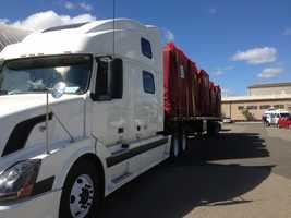 A semi was loaded full of gear that will be needed in Washington during the search. (April 2, 2014)