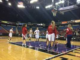 Pleasant Grove squad warming up at the half.
