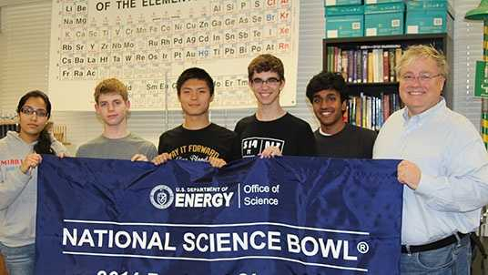 Mira Loma's Science Bowl team (left to right): Preethi Raju, Jack Gurev, Daniel Shen, Matt Kempster, Arvind Sundararajan, and coach James Hill