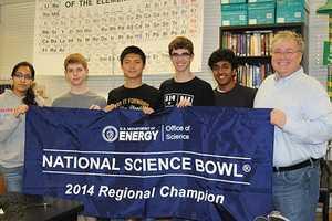 Mira Loma's Science Bowl team (left to right): Preethi Raju, Jack Gurev, Daniel Shen, Matt Kempster, Arvind Sundararajan, and coach James Hill