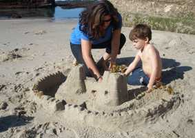 17.) I love the beach. In this shot, we are building a sand castle at La Jolla Shores.