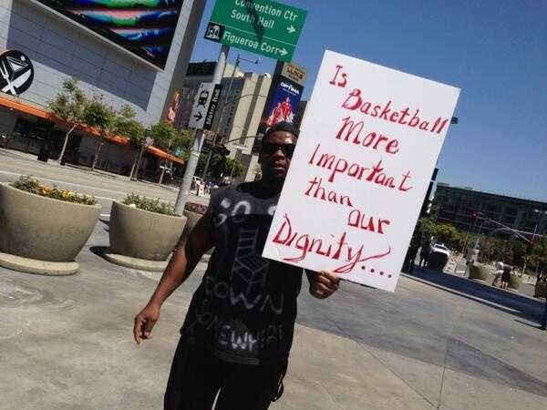 A protester outside the Staples Center in Los Angeles. (April 29, 2014)