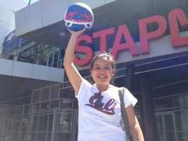 A Clippers fan outside the Staples Center in Los Angeles. (April 29, 2014)