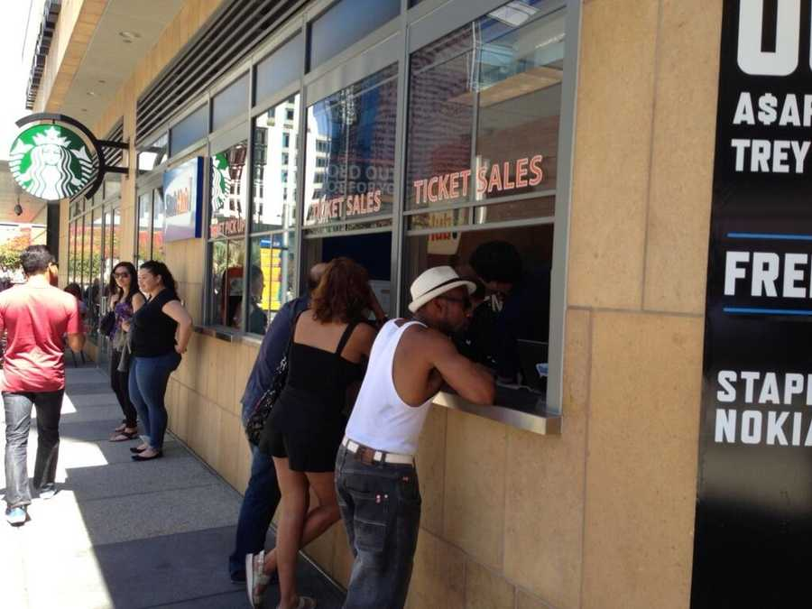 Los Angeles Clippers fans buying tickets at the Staples Center on Tuesday. (April 29, 2014)