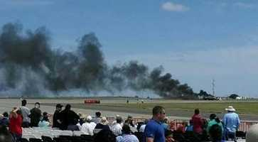 A plane crashed at the Thunder Over Solano Air Show at Travis Air Force Base on Sunday.