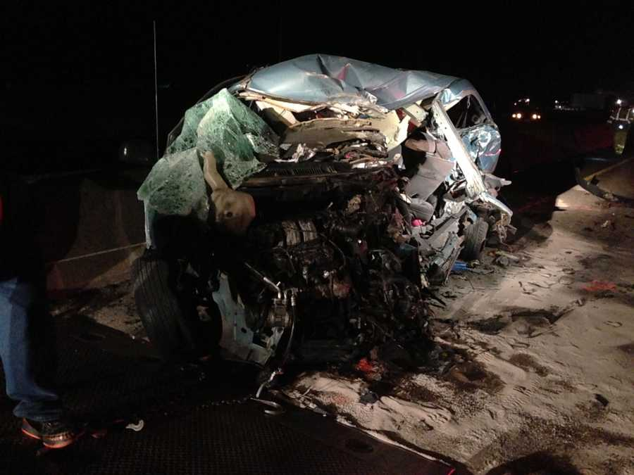 A minivan and a big rig were the first to crash before two other cars were struck by the big rig early Friday.